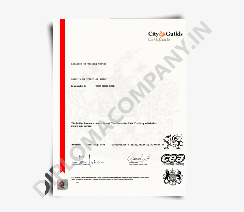 Download Transparent City Guilds Certificate Template Fake