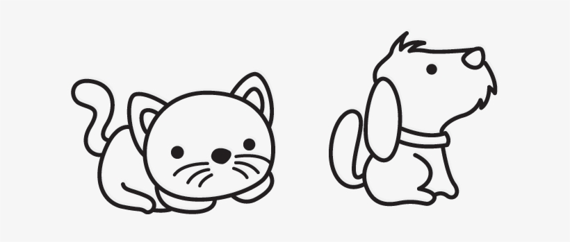 Black And White Cat Cartoon Dog Cartoon Black And White Png 698x350 Png Download Pngkit