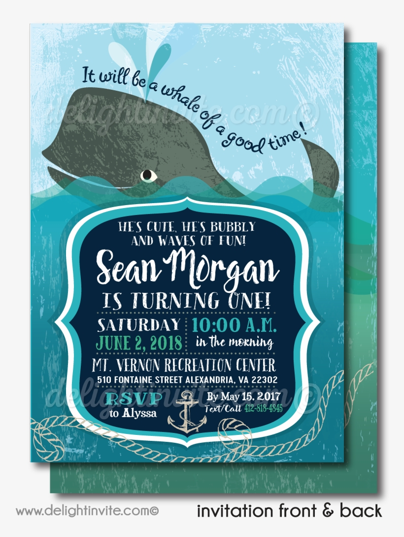 Nautical Baby Whale 1st Birthday Invitations