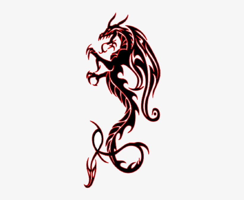 Tribal dragon tattoo flash