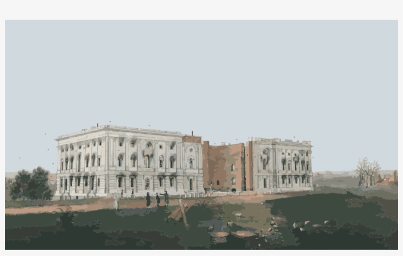 Burned Down The White House Clipart White House United Old White