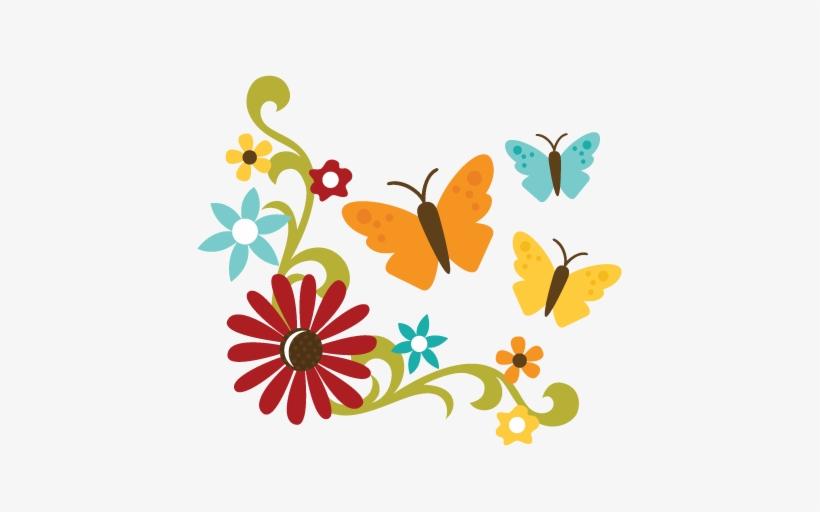Flowers With Flourish Erflies Svg Files