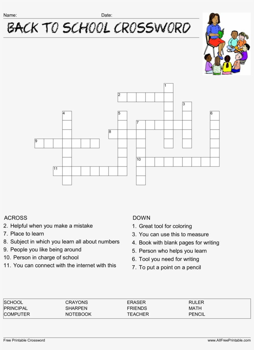 Back To School Crossword Puzzle Main Image Download My Teacher Is
