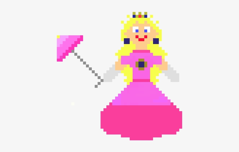 Princess Peachtoadstool Pixel Art 530x500 Png Download