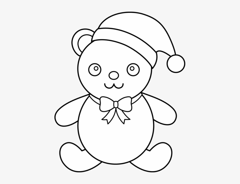 Teddy Bear Black And White Christmas Clipart Black