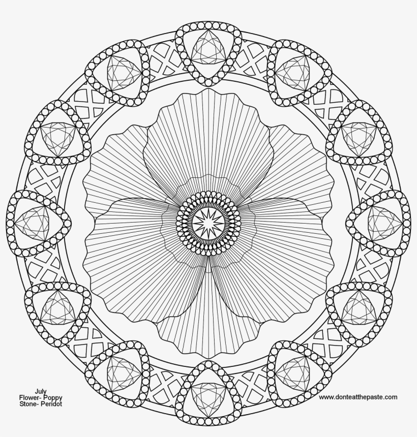 Advanced Mandala Coloring Pages 79 With Advanced Mandala - Poppy Mandala -  1600x1600 PNG Download - PNGkit