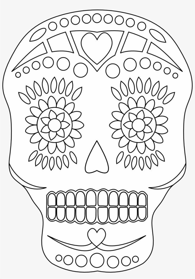 Sugar-skull 2 048 × 2 829 Pixlar - Simple Day Of The Dead Coloring