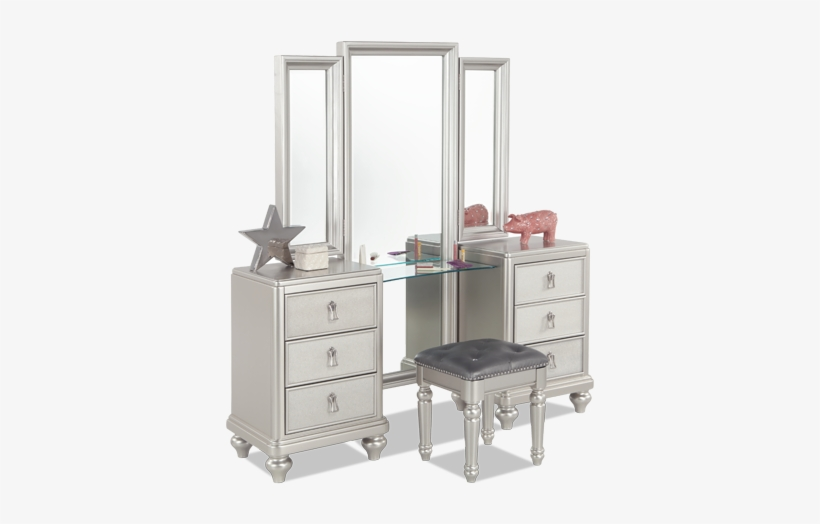 Diva Vanity Dresser Stool Bobs Furniture Silver Bedroom Set 846x534 Png Download Pngkit
