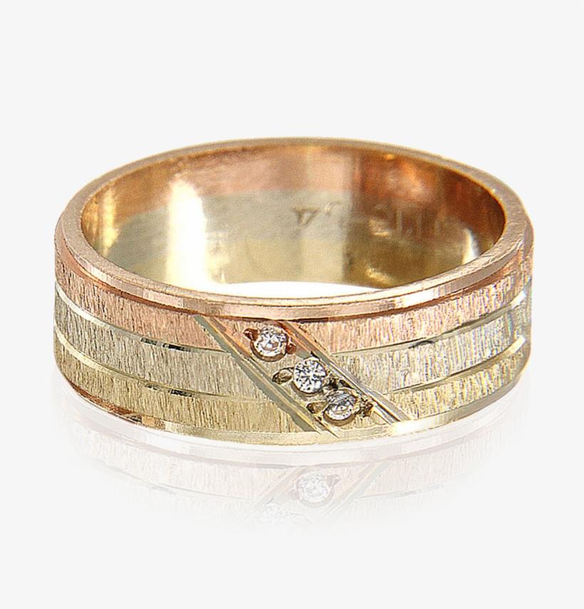 21baf57500bf Argolla De Tres Oros Con 3 Circonias Diagonales - Anillos De Matrimonio  Tres Oros