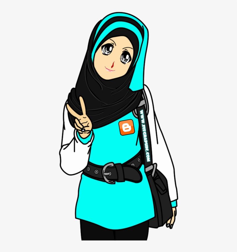 Gambar Kartun Muslimah Peace 600x900 Png Download Pngkit