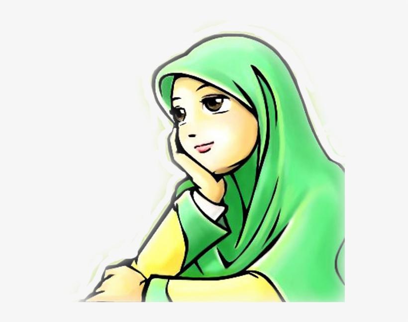Wanita Muslimah 8 Image Kartun Termenung 567x567 PNG