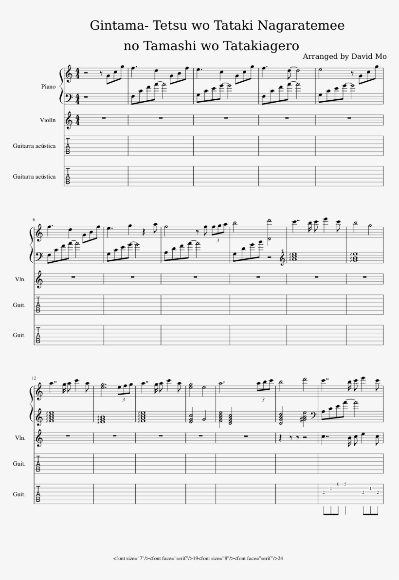 No Tamashi Wo Tatakiagero Sheet Music Composed By Arranged Gintama