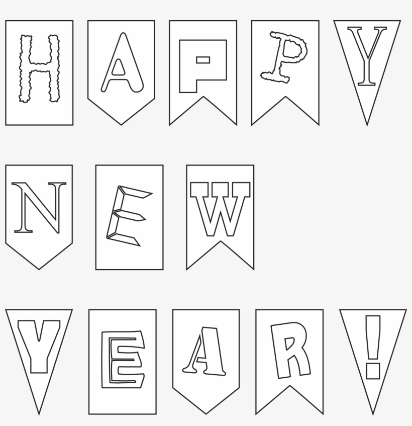 Outline Of Hy New Year Card Banner