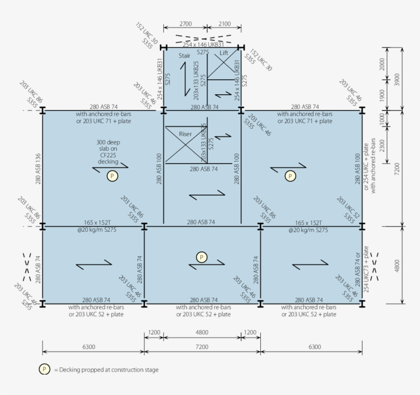 Structural Layout For Shallow Plan Building - Beam And