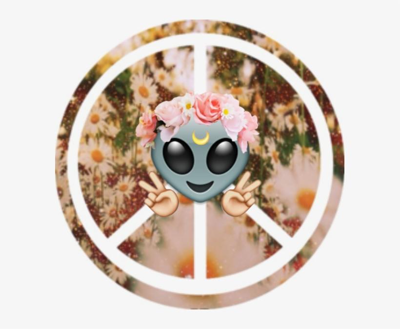 Alien Emoji Wallpaper - Peace Sign - 593x594 PNG Download - PNGkit