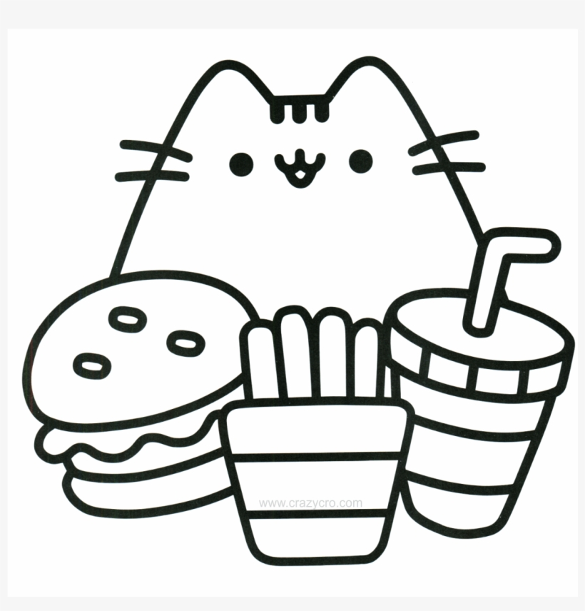 Cat With Food Coloring Page - Mini Pusheen Coloring Book - 1200x1697 PNG  Download - PNGkit