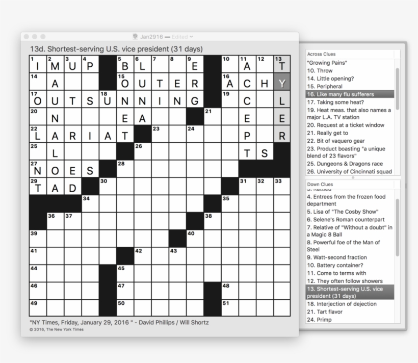 photo relating to Printable Easy Crossword Puzzles referred to as Friday Jan 29 2016 Nyt Crossword Puzzle - Newbie Printable