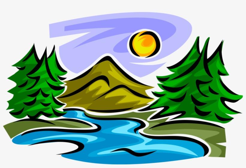 Vector Illustration Of Idyllic Mountain Stream Creek - Mountain ...