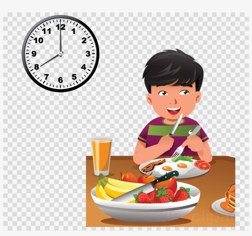 Child Eating Healthy Food Cartoon Clipart Breakfast Have Breakfast At 8 O Clock 900x800 Png Download Pngkit