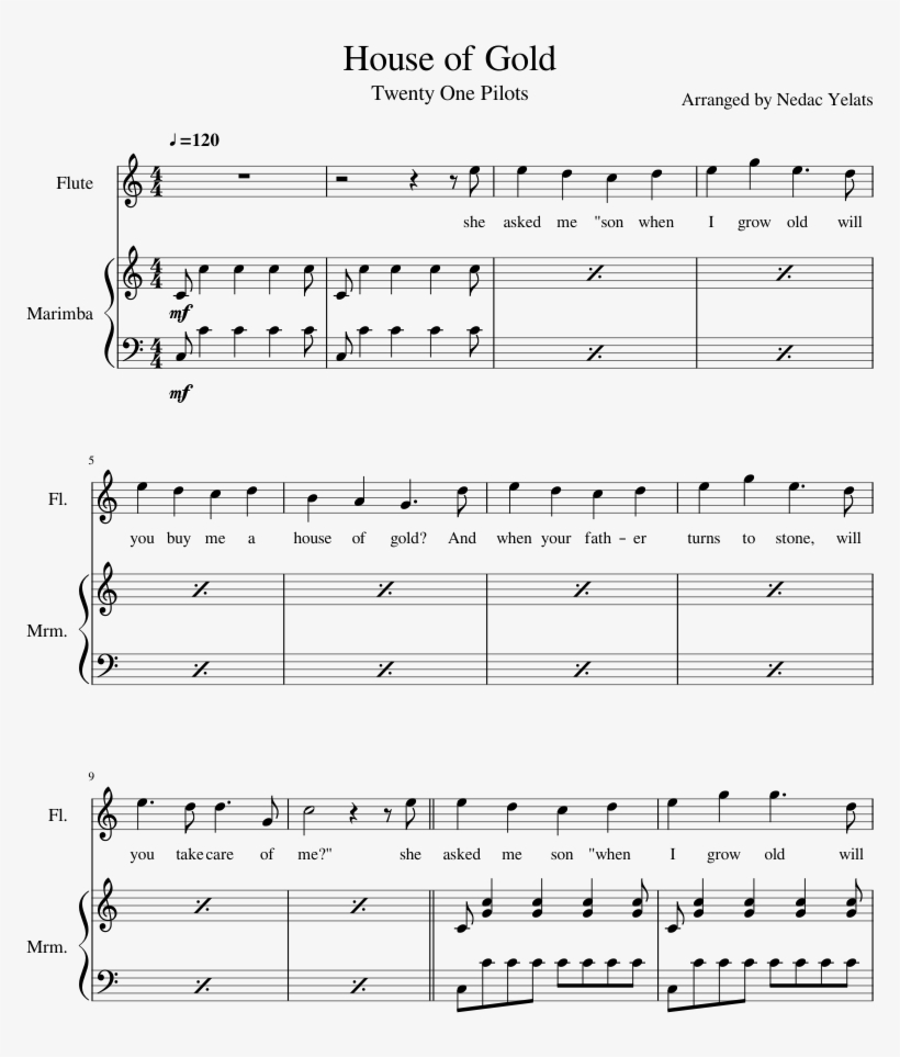 House Of Gold Sheet Music Composed By Arranged By Nedac ...