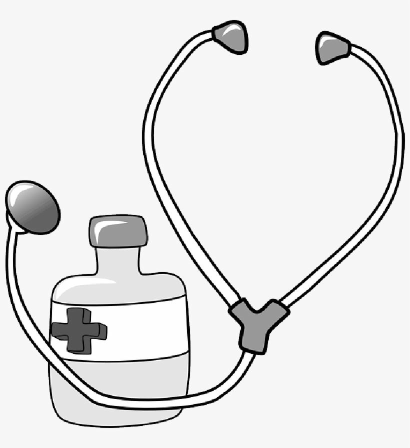 Red Black Outline Cross Drawing Doctor Nurse Stethoscope