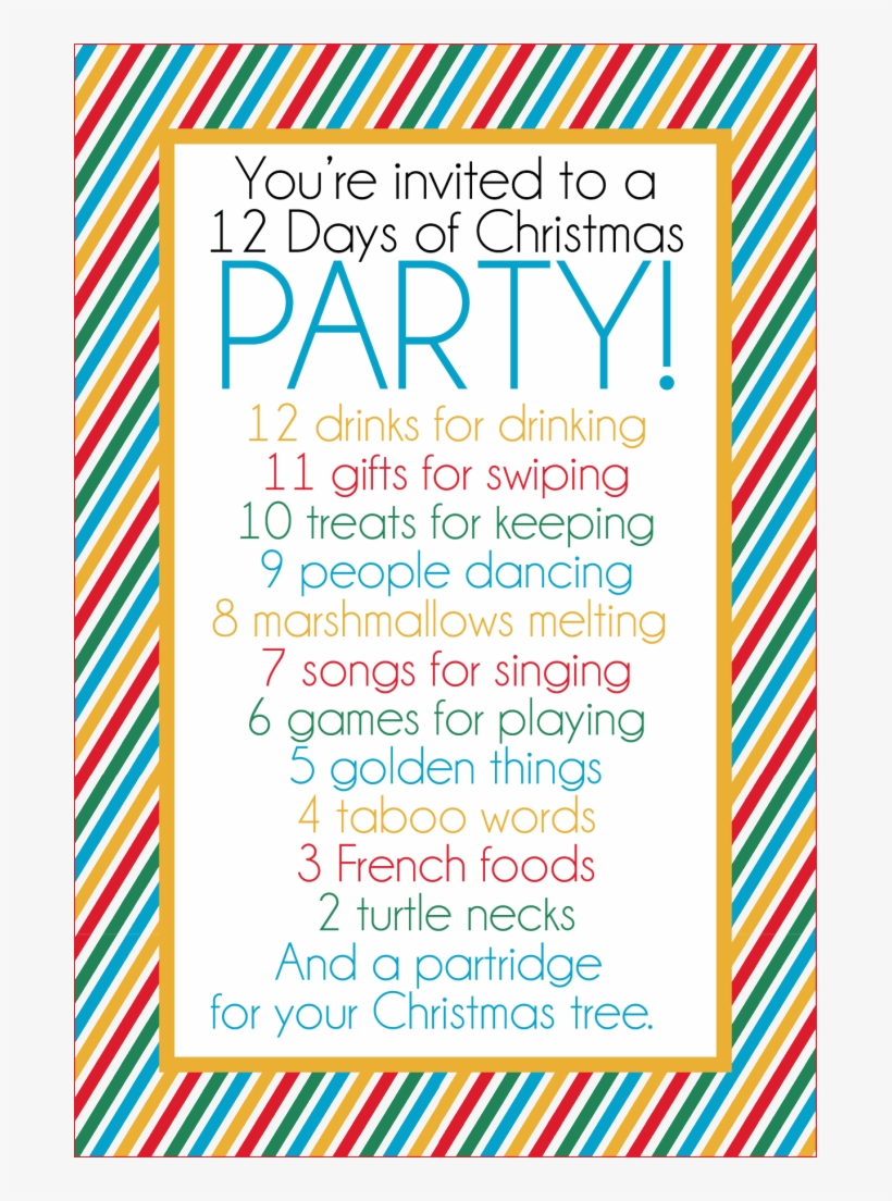 This Fun 12 Days Of Christmas Party Has It All Funny Christmas Gift Exchange Ideas 683x1024 Png Download Pngkit