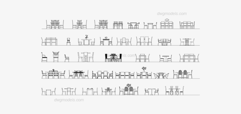 Tables And Chairs Elevation Dwg, Cad Blocks, Free Download