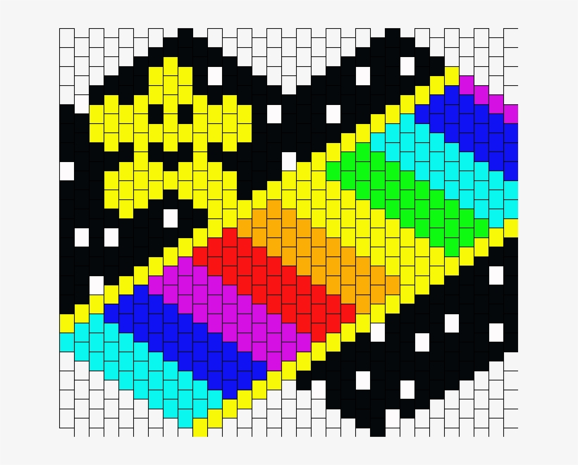 Mario Kart 64 Rainbow Road Mask Bead Pattern Bruges 651x580