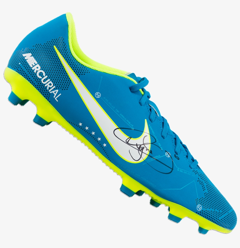 d2828fb89ab Neymar Jr Signed Blue Nike Mercurial Njr Boot - Neymar Jr Brazil Cleats