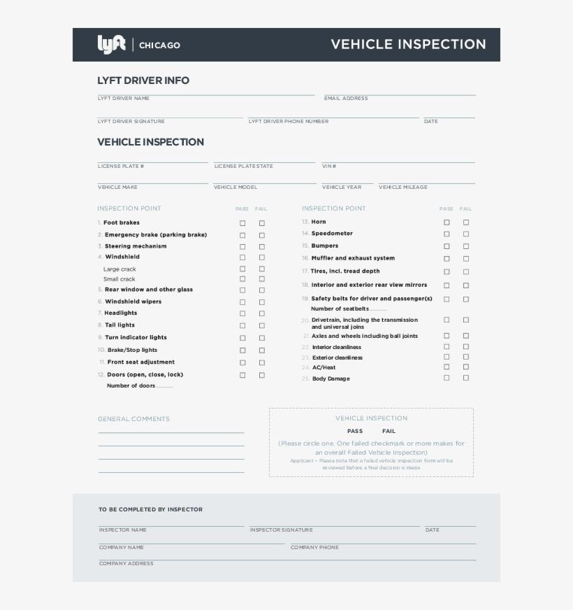 Lyft Chicago Inspection Form Org Lyft Inspection Form