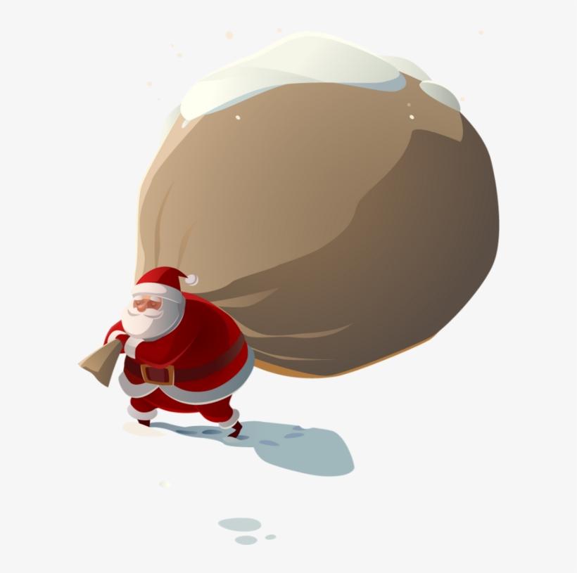 Hotte De Pere Noel Le Père Noël Et Sa Hotte   Hotte De Pere Noel   600x735 PNG