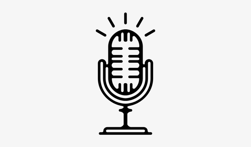 Old Microphone With A Stand Vector Microfonos De Radio