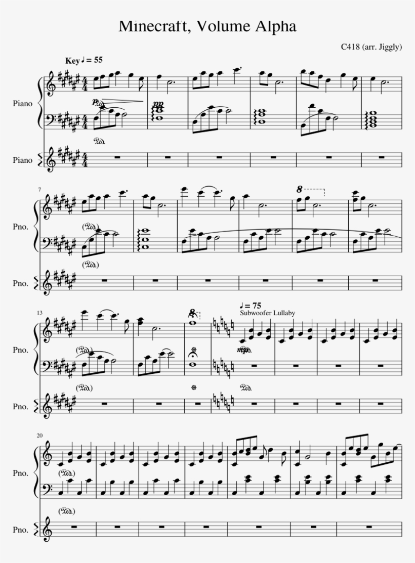 Minecraft, Volume Alpha Sheet Music For Piano Download