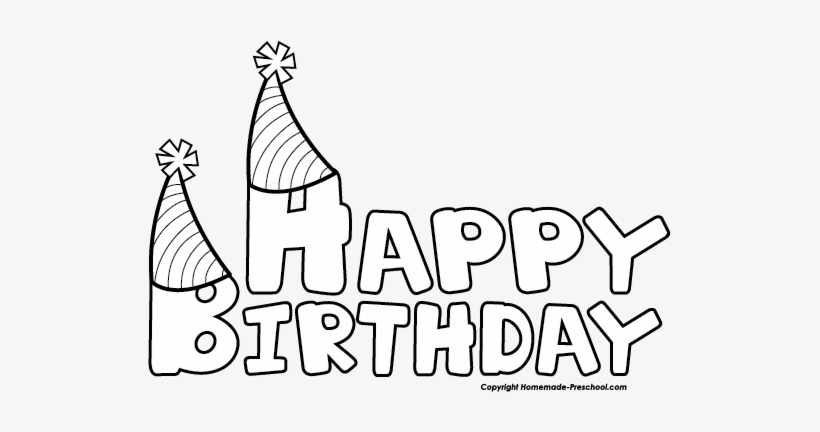 Click To Save Image Happy Birthday Clip Art Black And White 523x352 Png Download Pngkit
