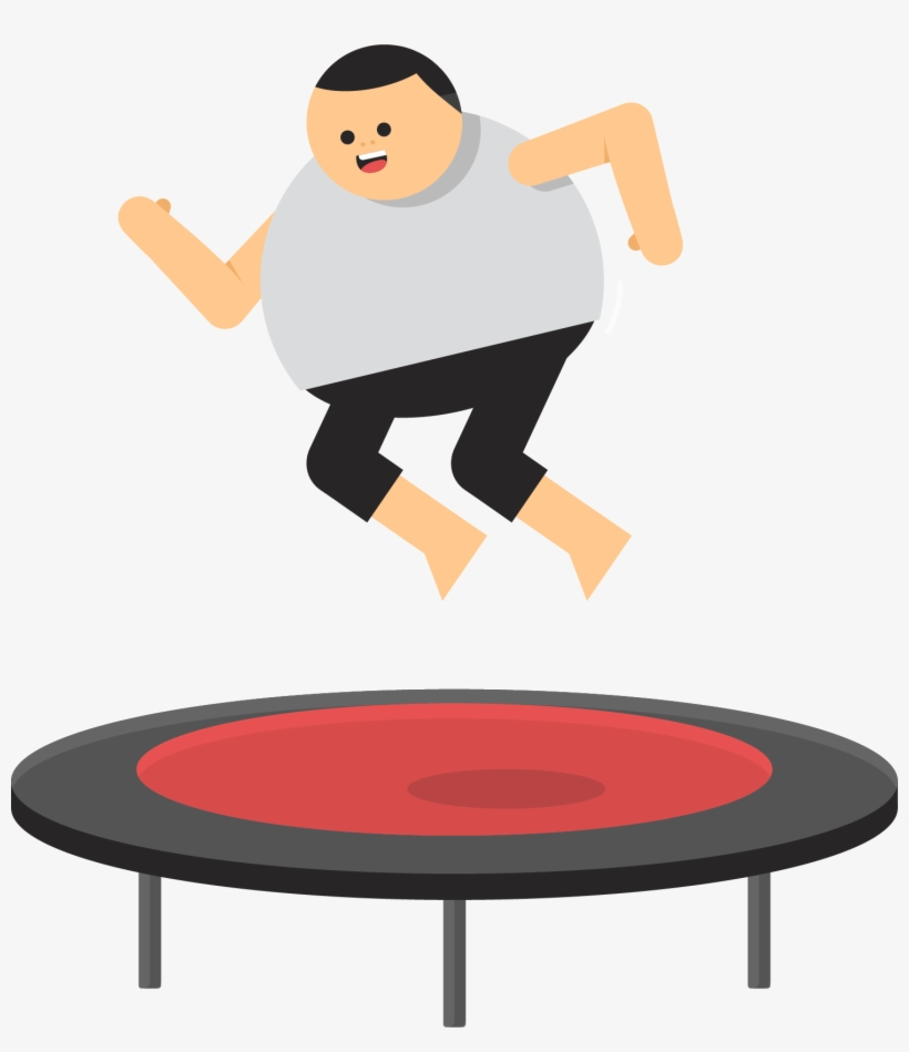 Fat Guy Basketball Clipart - Trampolining Transparent