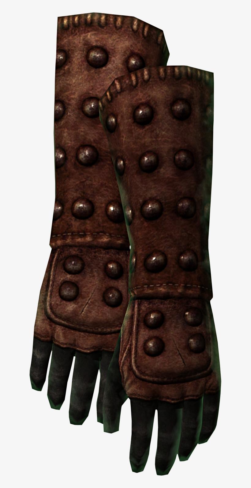 Tumblerbane Gloves - Leather Gauntlets Skyrim - 627x1513 PNG
