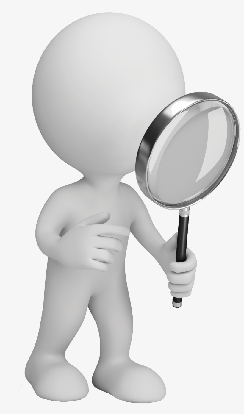 Magnifying glass man. Image stock clipart x