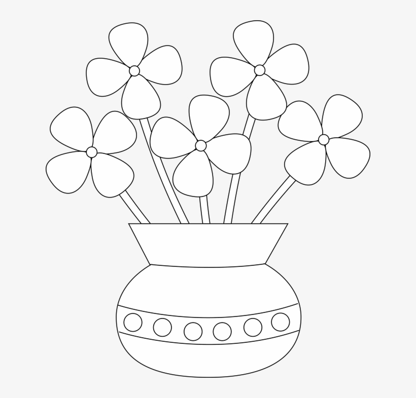 How To Draw Flowers Vase Clipart Drawn Flower Png Freeuse Easy Flower Vase Drawing 640x706 Png Download Pngkit