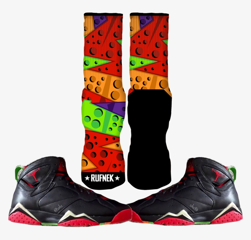 068588fa1e45 Jordan Marvin The Martian 7s Custom Socks - Air Jordan 7 Marvin The Martian  Outfits
