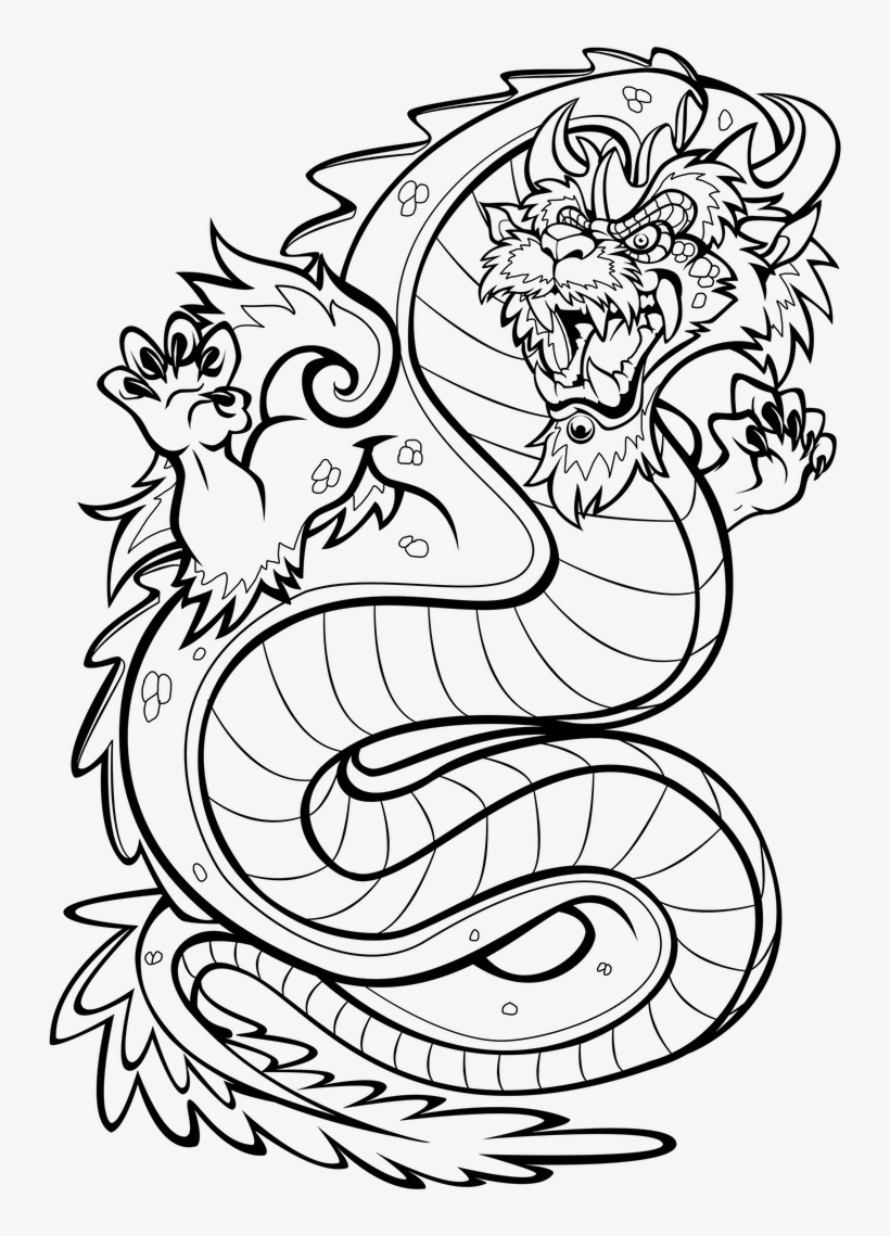 - Asian Style Dragon Colouring In Page By Darkly Shaded - Coloring