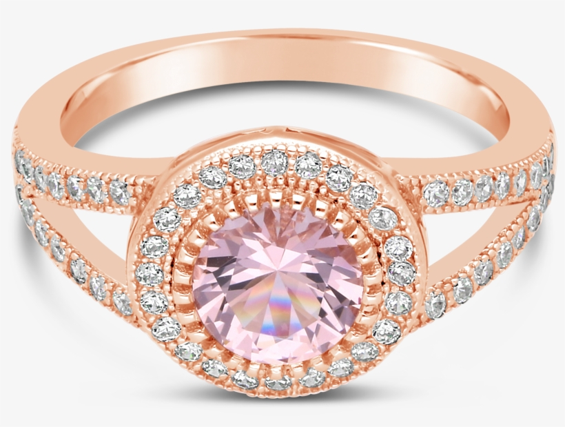 Silver Rose Gold Plated White Morganite Colour Cubic Nwj Rose Gold Rings 3000x3000 Png Download Pngkit