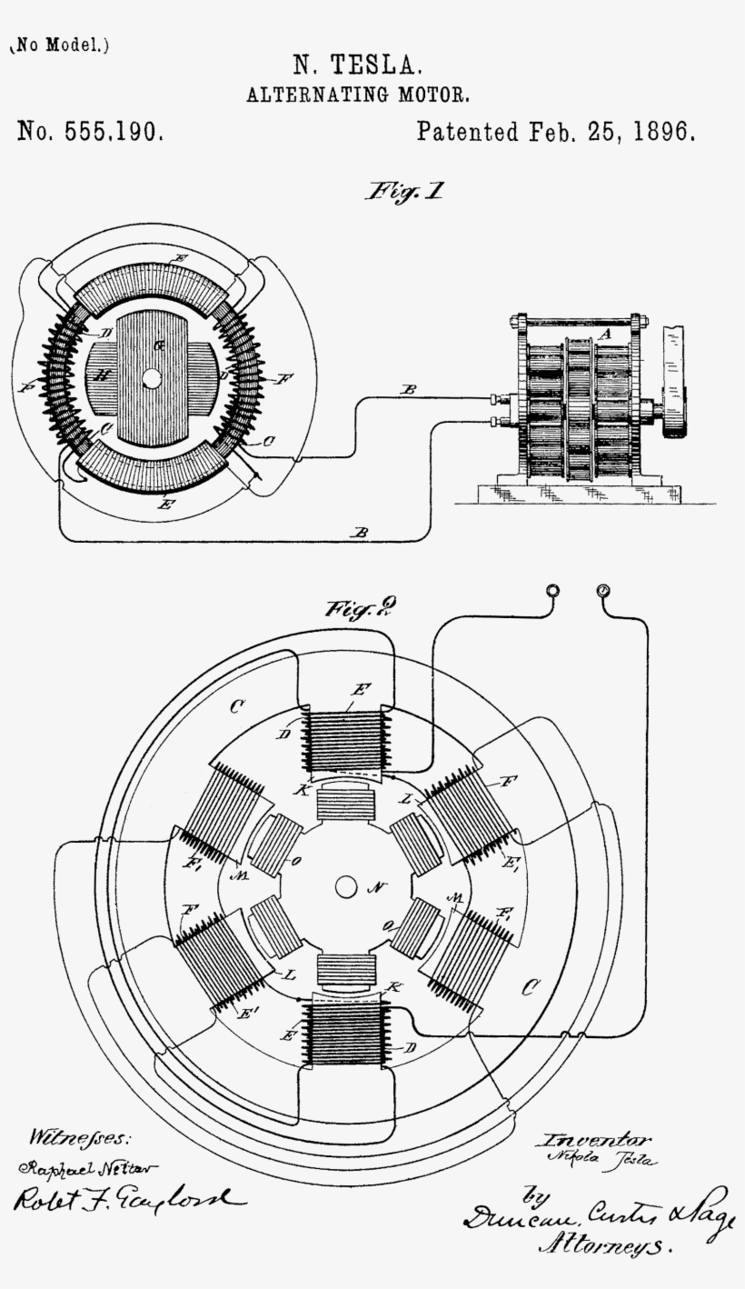 Nikola Tesla S 1896 Patent On The Ac Induction Motor