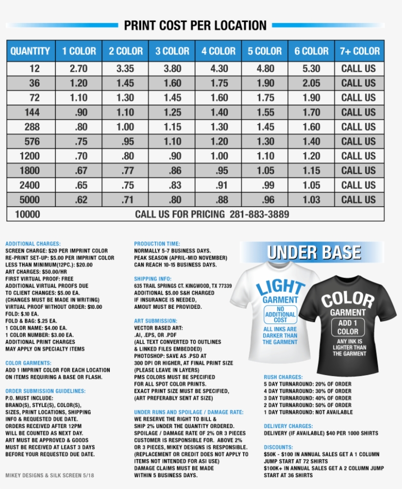 4be204278 Mikey Designs T-shirt Screen Printing Price List - Contract Screen Printing  Price List 2018