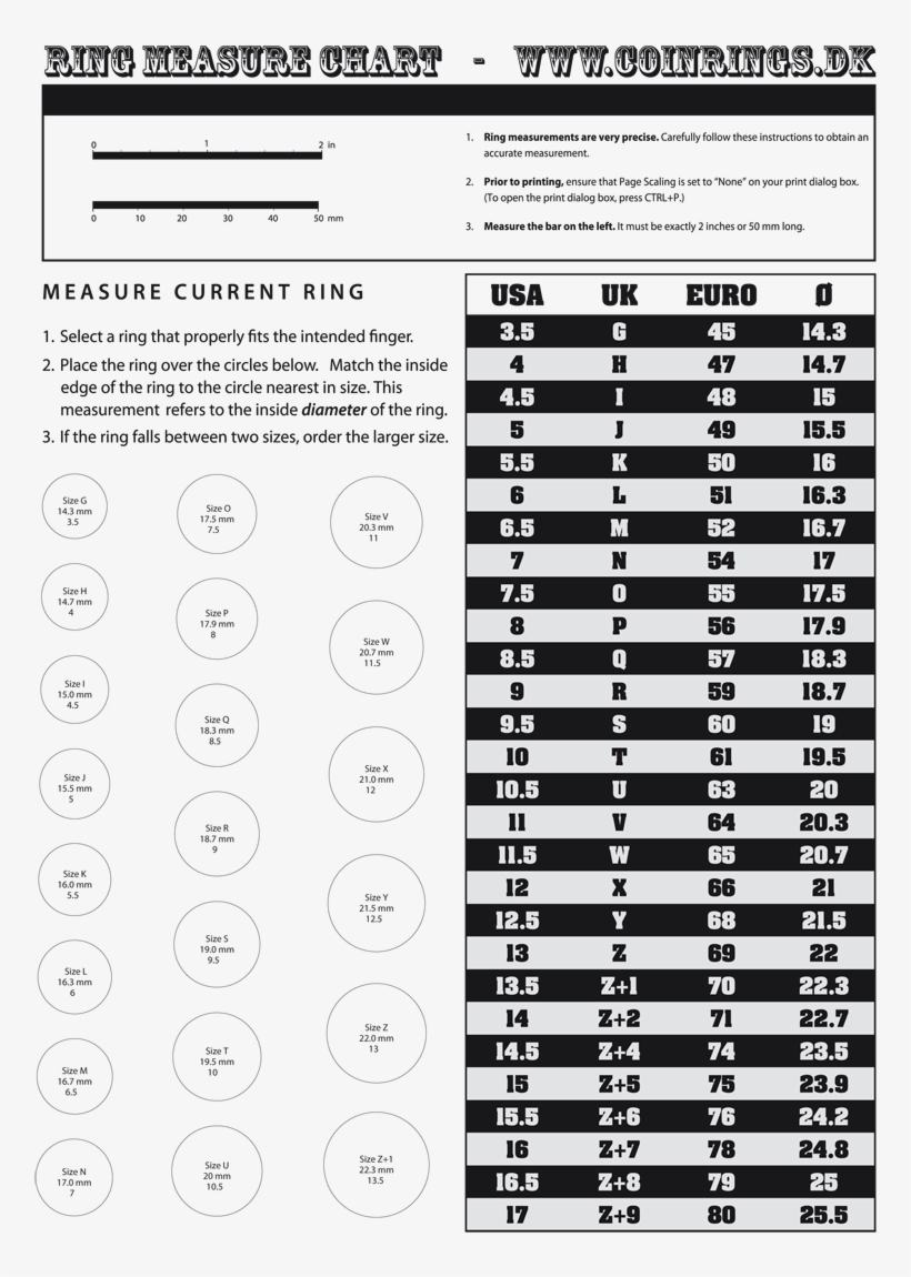 Coinrings Home Ring Finger Size Chart Inches Ringsizech