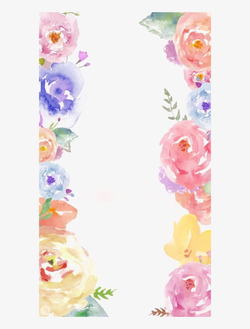 Flowers Border Png Free Photo Pastel Watercolor Background