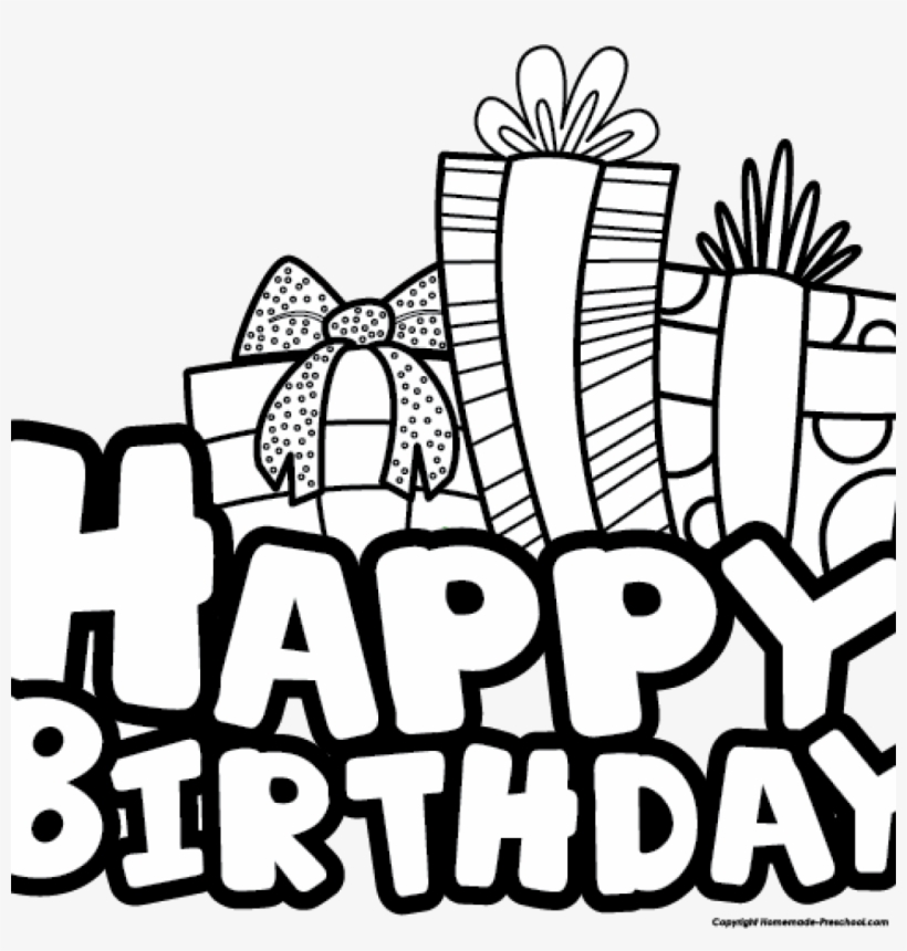 Black And White Birthday Clipart Happy Birthday Line