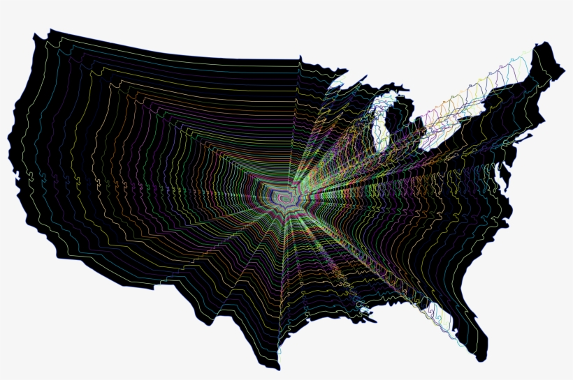 Prismatic Us Map Outline Zoom Image Royalty Free Stock - Dana Decals ...