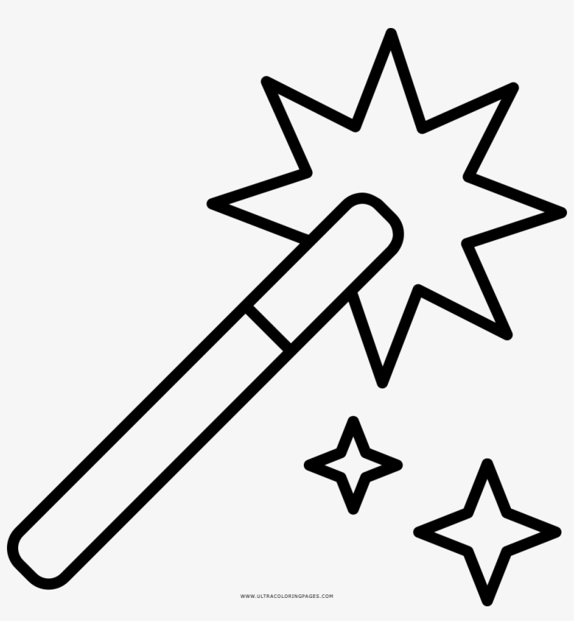 Magic Wand Coloring Page Wand Drawing Png 1000x1033 Png Download Pngkit