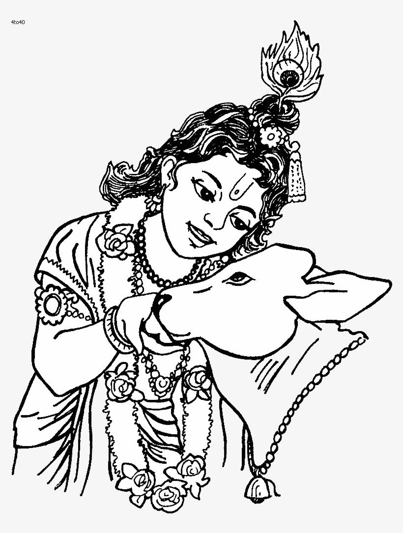God Krishna - Black And White Krishna Vector, Transparent Png - 400x400  (#4800563) PNG Image - PngJoy