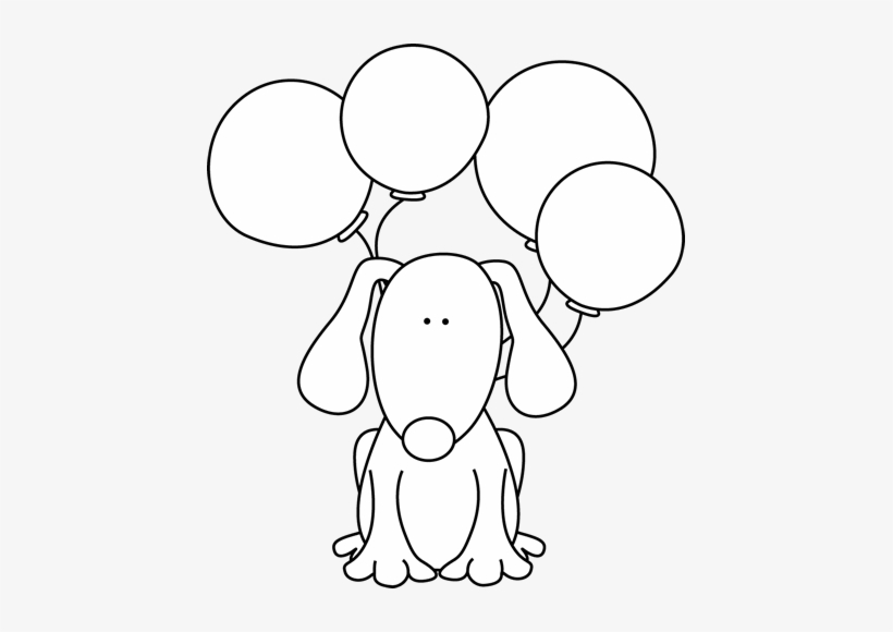Black And White Dog With Balloons - Black And White Clipart Boy With Puppy  - 439x500 PNG Download - PNGkit